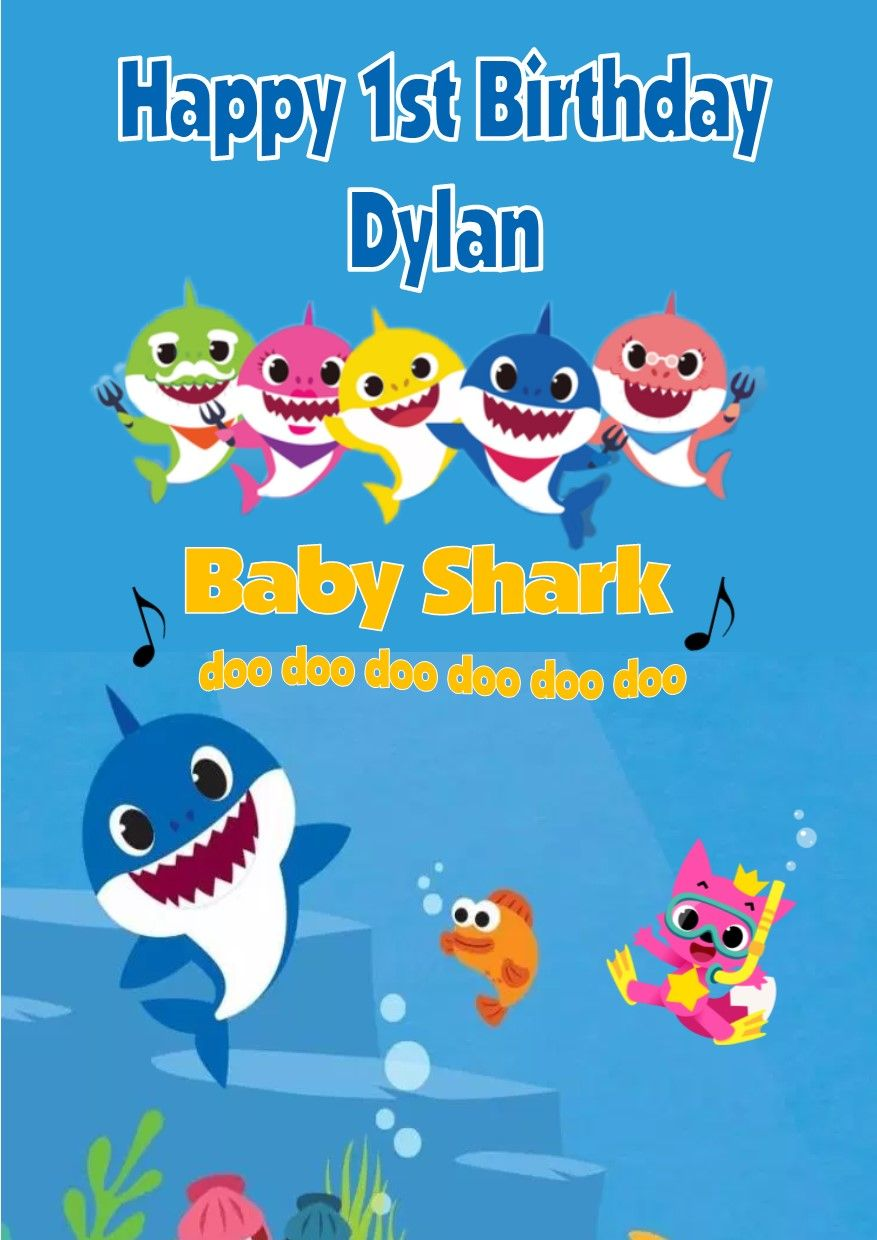 Personalised Blue Text Baby Shark Birthday Card 6544 1 P