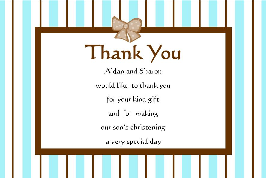 Personalised Boy Christening Thank You Cards Design 2
