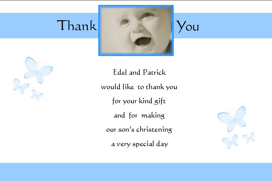Personalised Boy Christening Thank You Cards Design 3