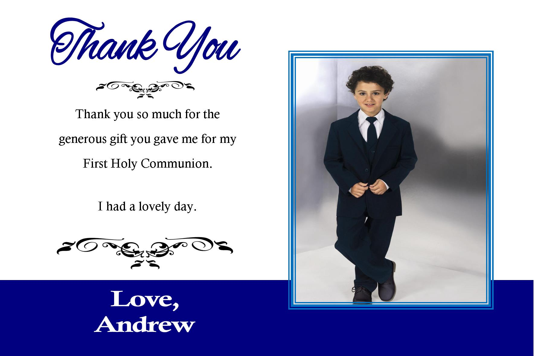 personalised boy communion or confirmation photo thank you card design 1