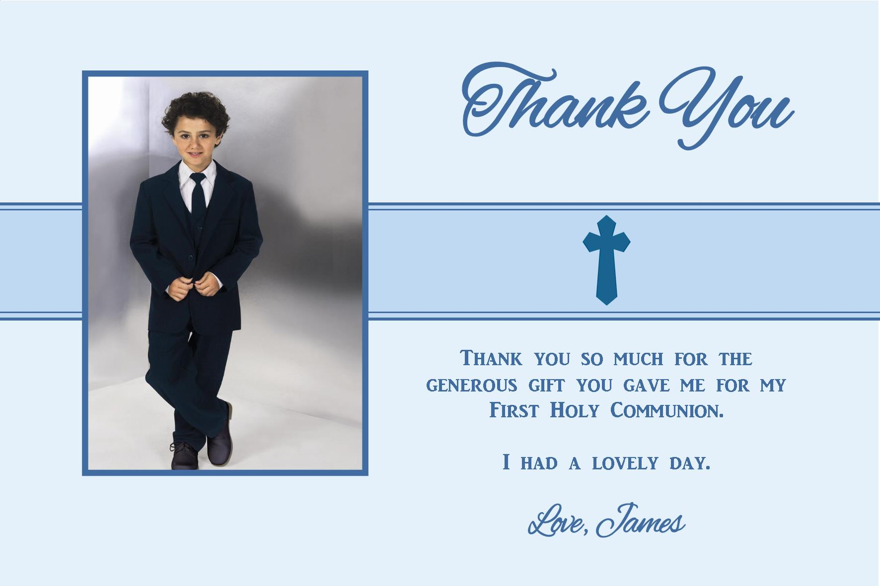 Personalised Boy Communion Or Confirmation Photo Thank You Card Design 2 2470 P Jpg