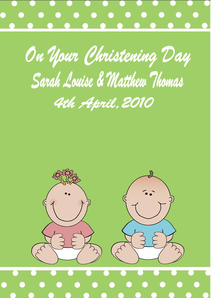 Personalised Boy Girl Twins Christening Card 1
