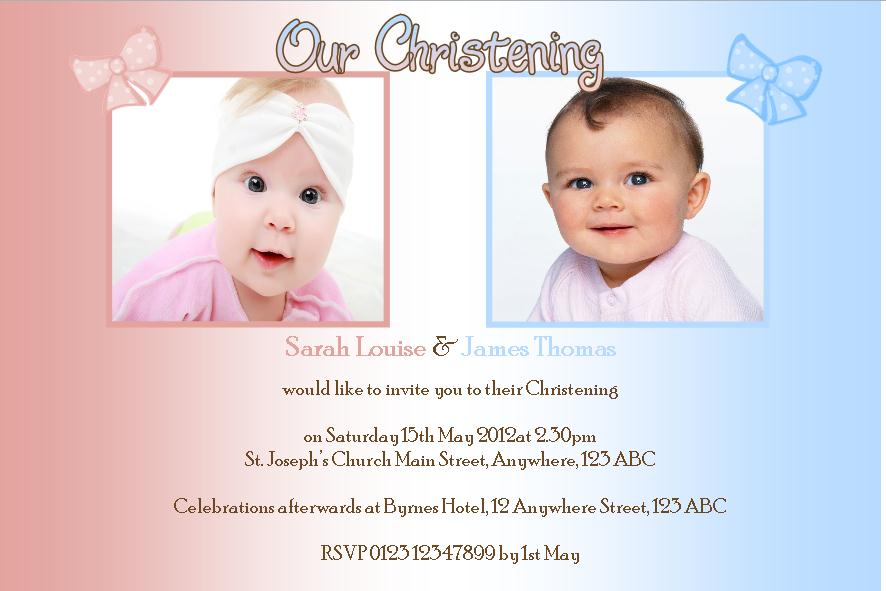 Personalised Boy Girl Twins Christening Photo Invitations