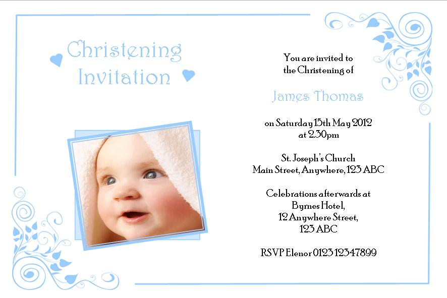 Personalised Boy Photo Christening Invitations Design 2
