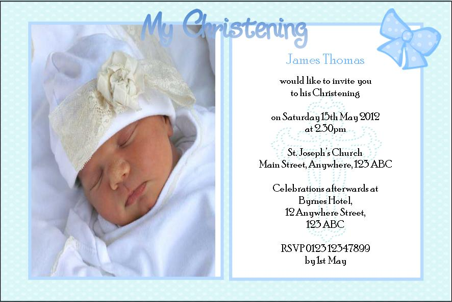 personalised boy photo christening invitations design 3