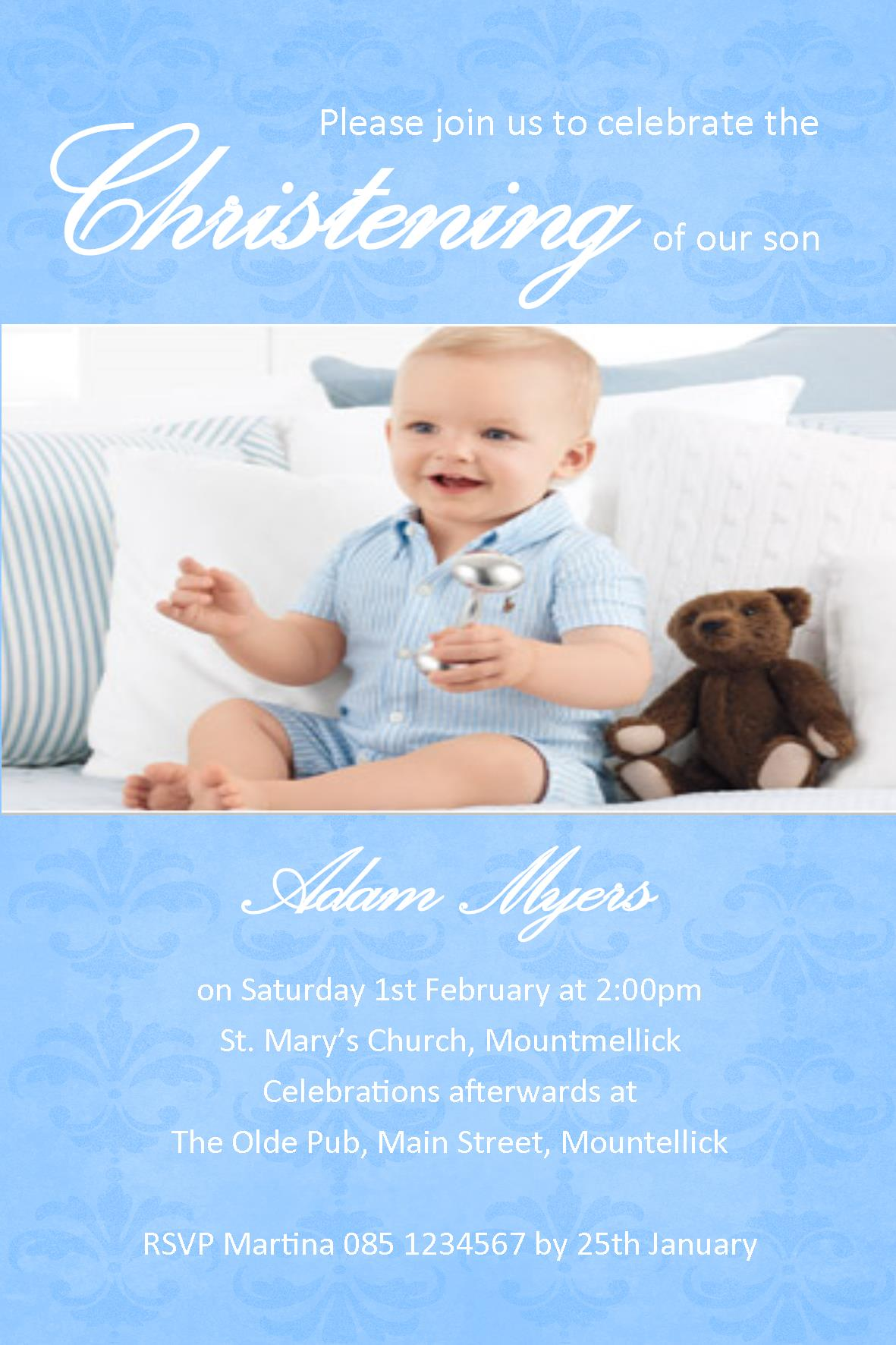 Personalised Boy Photo Christening Invitations Design P on Zipper Tooth