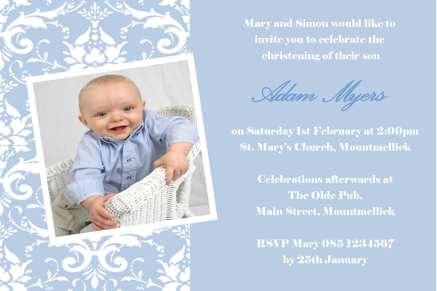 Personalised Boy Photo Christening Invitations Design 8