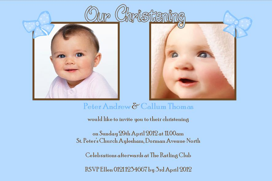 Personalised boy twins christening photo invitations stopboris Gallery