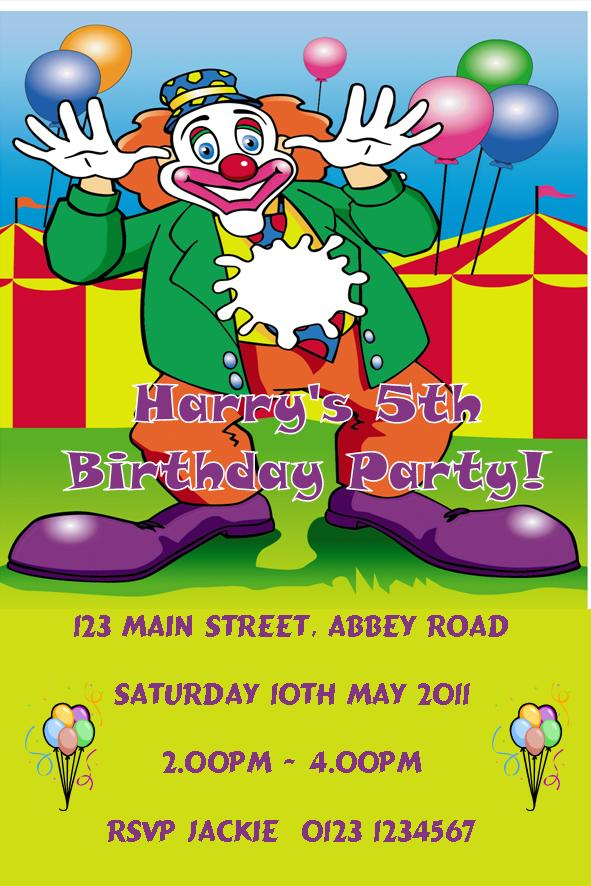 personalised clown theme invitations