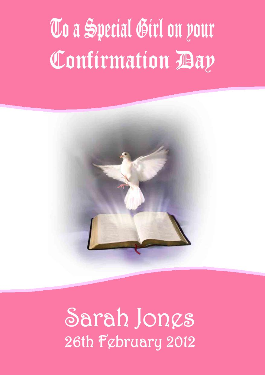Personalised Confirmation Card Girl Design 1