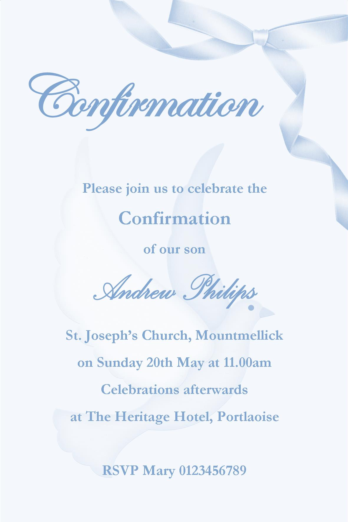 Famous Personalised Confirmation Invitations Son Design 2 CY03
