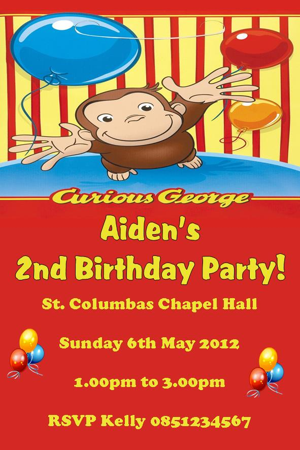 Personalised Curious George Invitations 636 P
