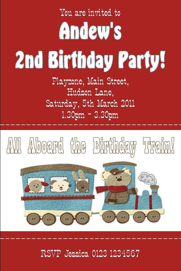 Personalised Cute Train Invitations Design 2 733 P