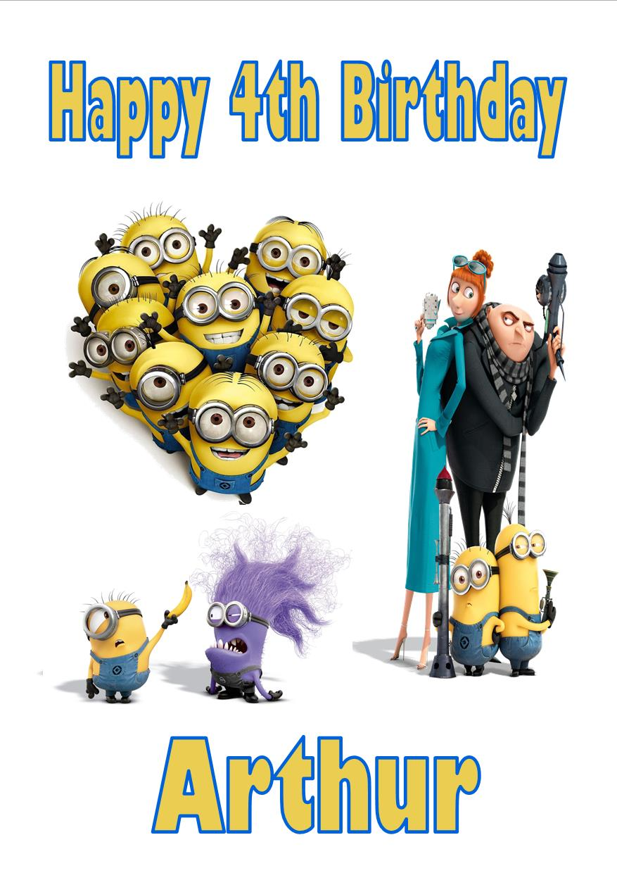 Personalised Despicable Me Minions Birthday Card 1994 P