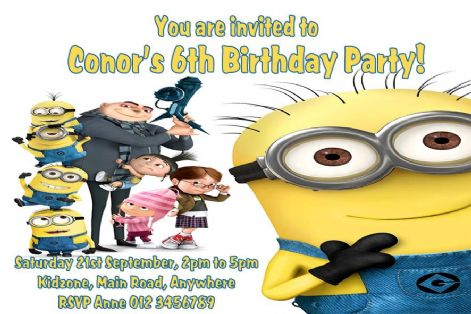 Free Envelopes Party Invites Personalised Minions Birthday Party Invitations
