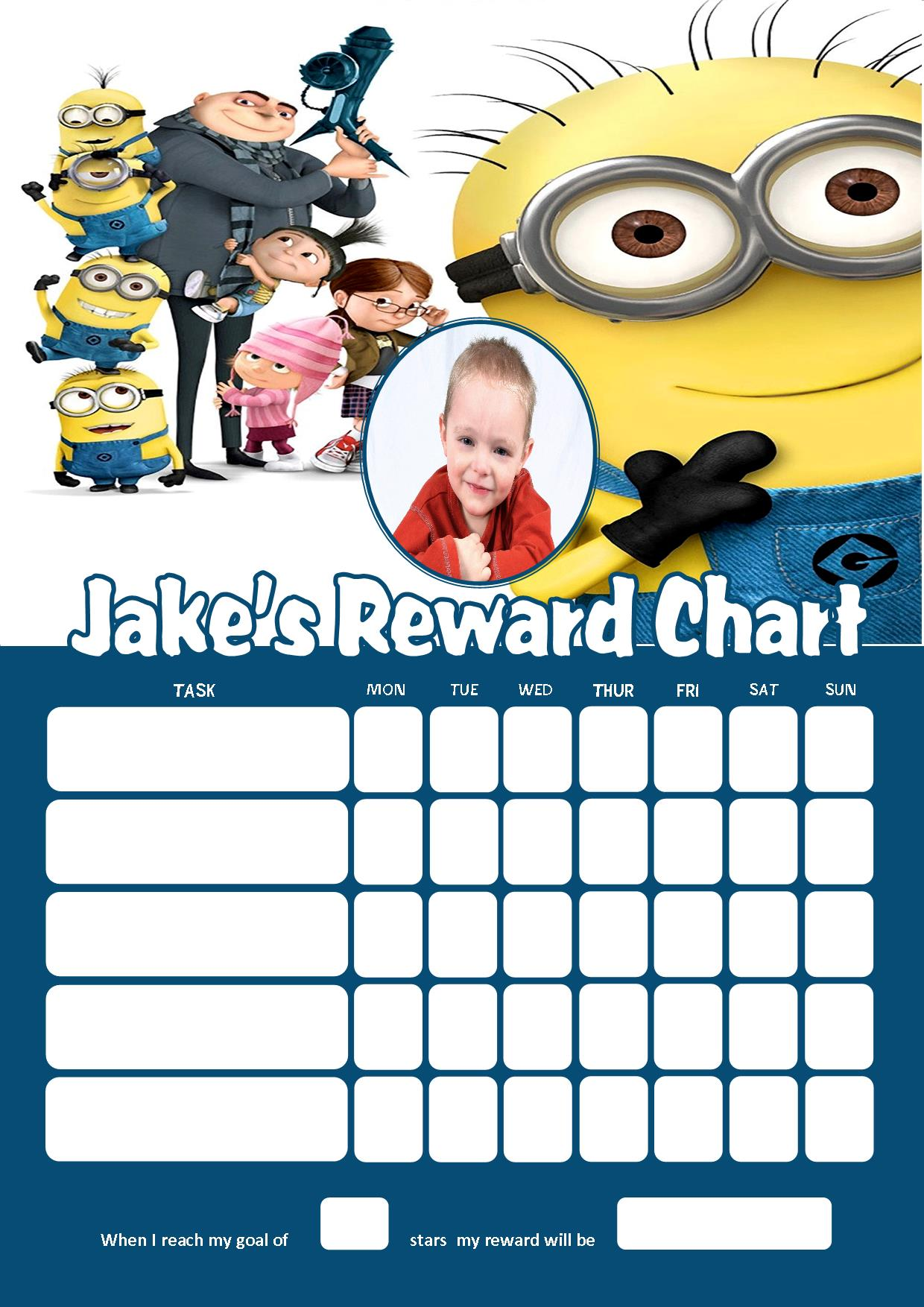 Personalised Childrens A4 Reward Behaviour Chart Minions And Stickers ! 2