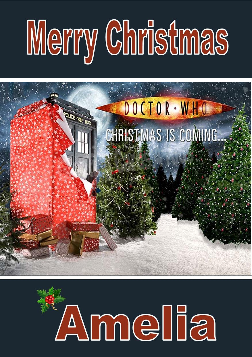 Doctor Who Christmas Cards.Personalised Doctor Who Christmas Card