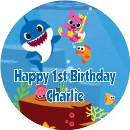 Personalised Edible Baby Shark Blue Text Cake Topper