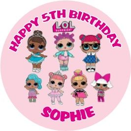 Personalised Edible LOL Surprise Dolls Cake Topper