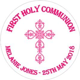 Personalised Edible Pink Cross Communion Cake Topper