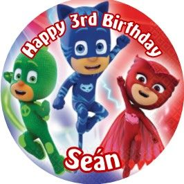 Personalised Edible PJ Masks Cake Topper