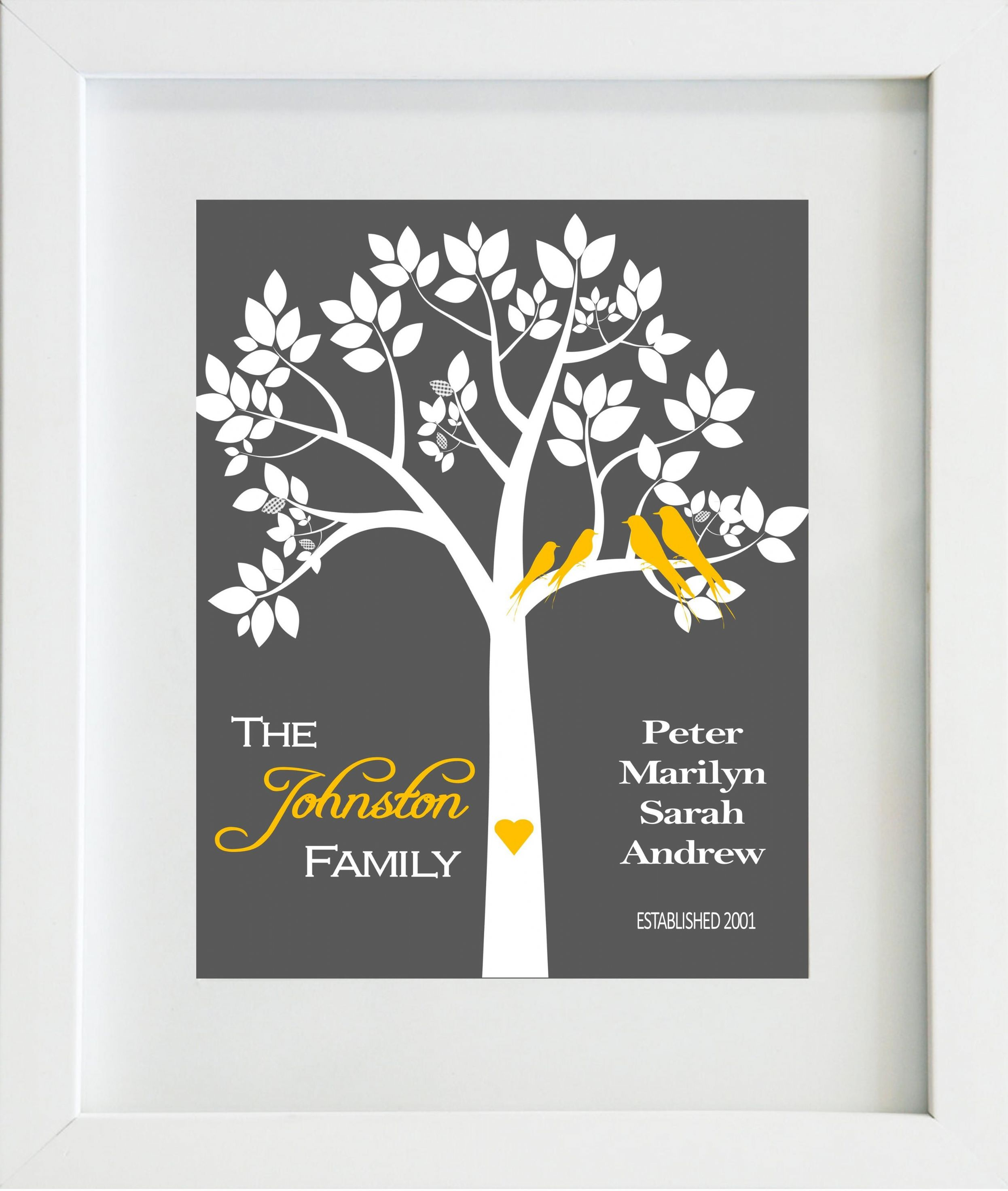 Personalised Family Tree Print P on Zipper Tooth