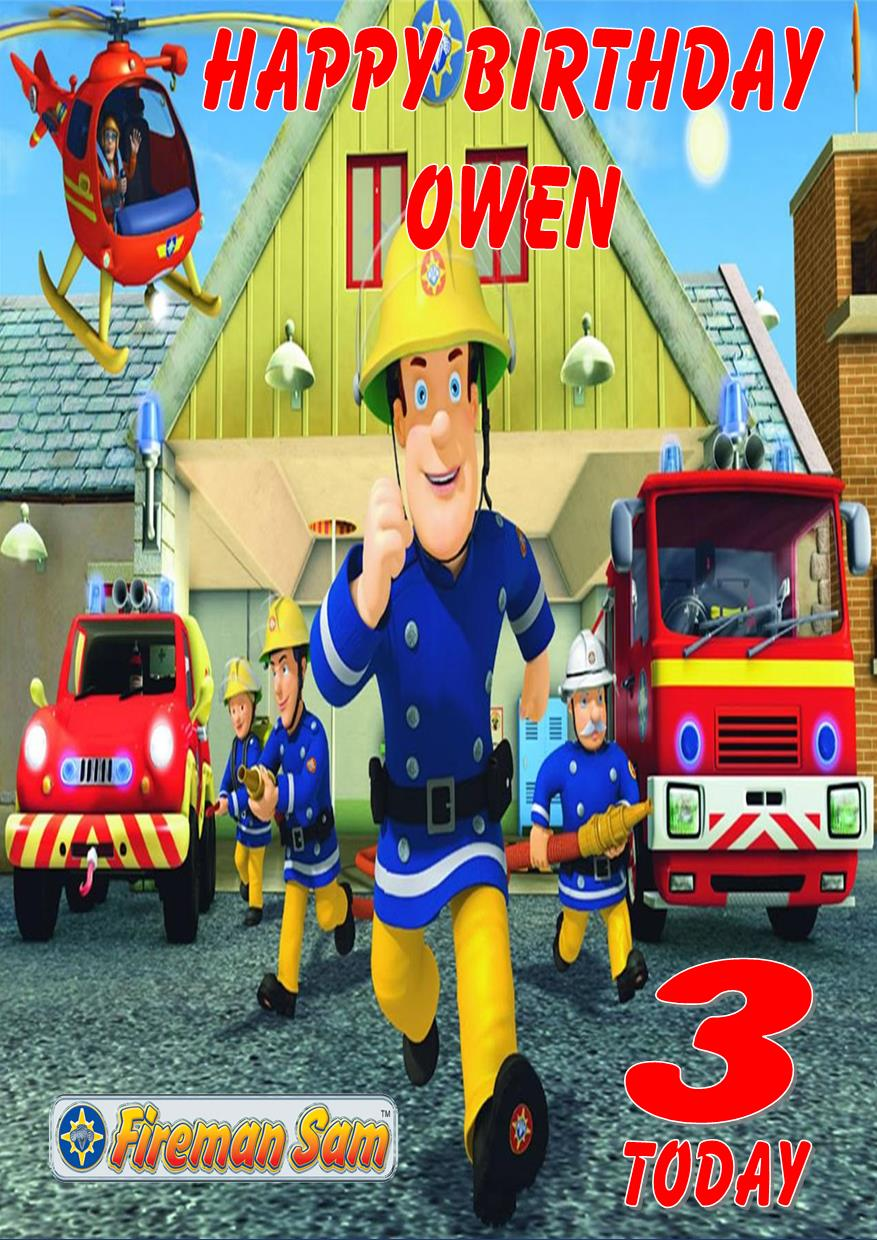 personalised fireman sam birthday card design 2