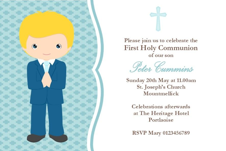 Personalised First Communion Invitations Boy New Design 4