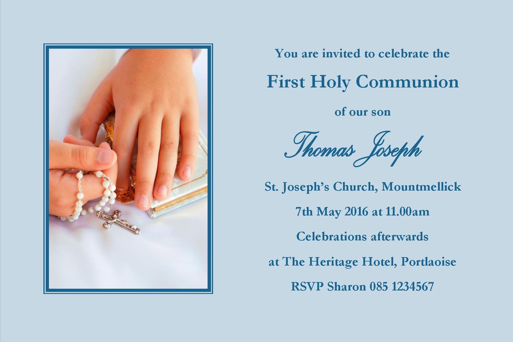 personalised first communion invitations boy son design 12