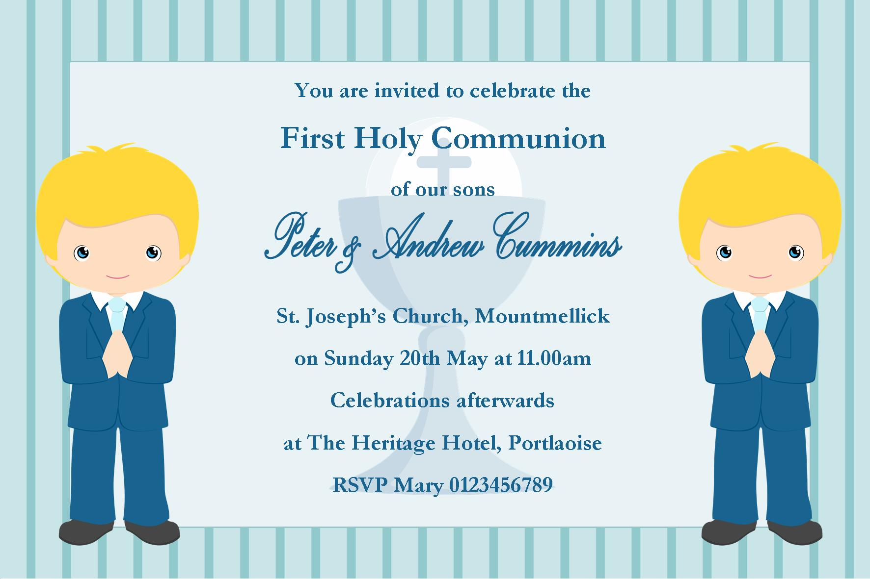 Personalised First Communion Invitations Boy Twins New Design 3