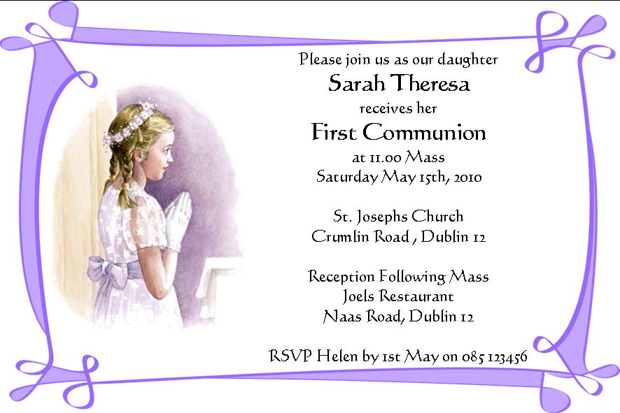 photo regarding First Communion Cards Printable named Customized To start with Communion Invites Daughter