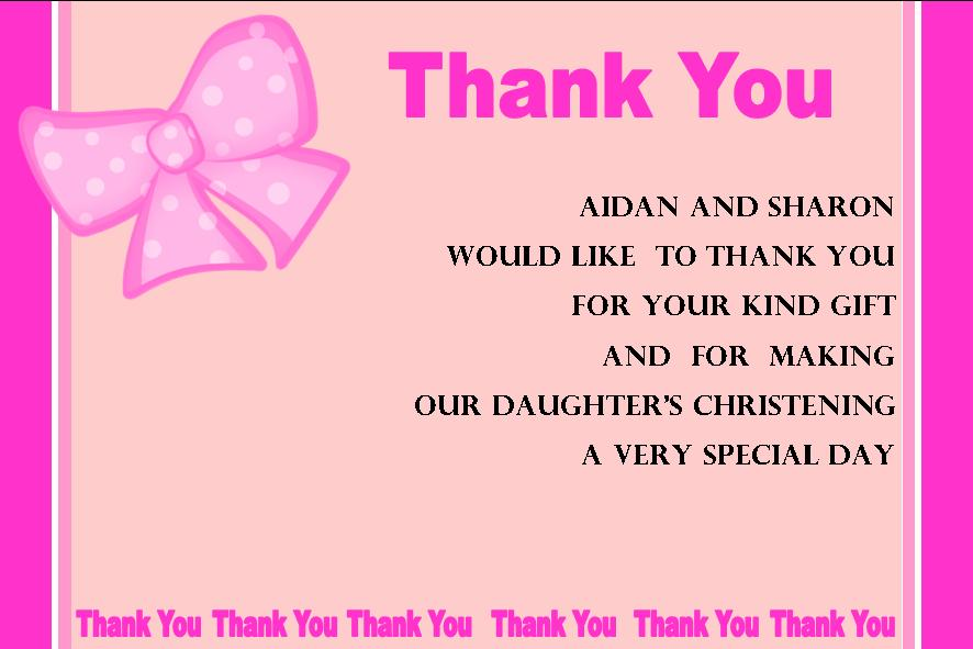 Personalised Girl Christening Thank You Cards 1