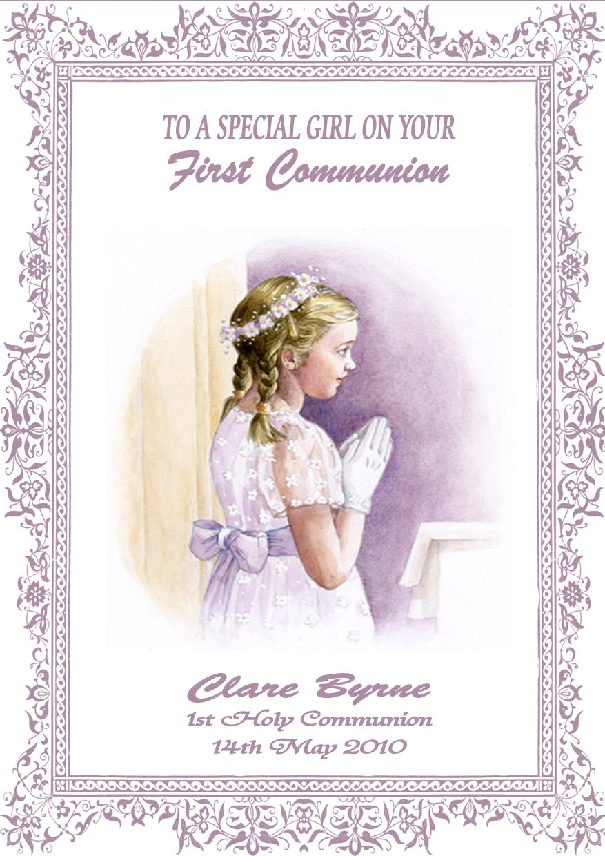 picture about First Communion Cards Printable named Personalized Woman Communion Card Structure 2