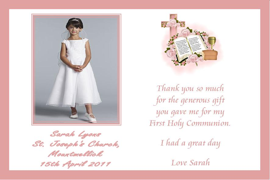 Personalised Girl Communion Photo Thank You Card Design 1