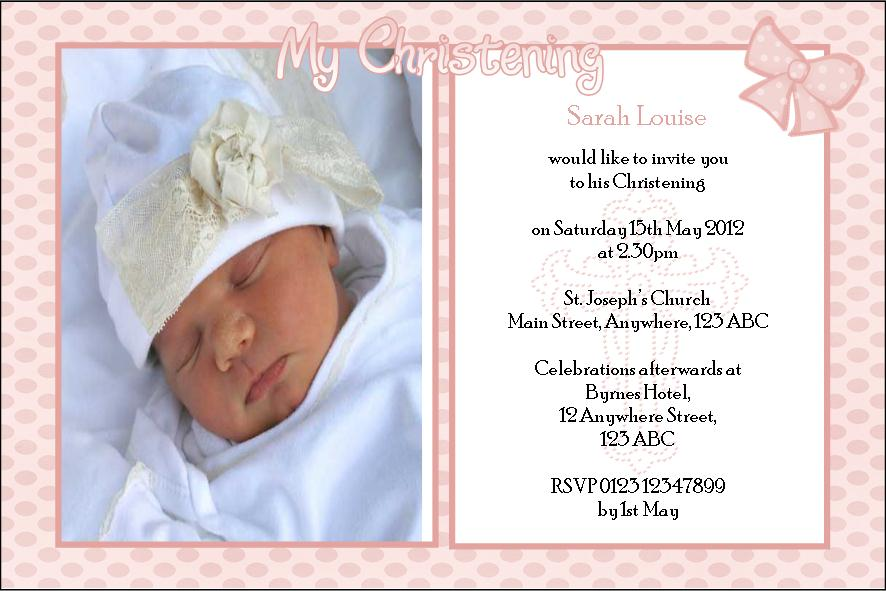 personalised girl photo christening invitations design 4