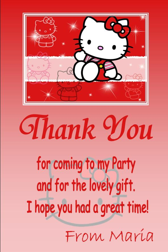 personalised hello kitty thank you cards