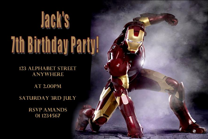 Personalised Iron Man 2 Invitations