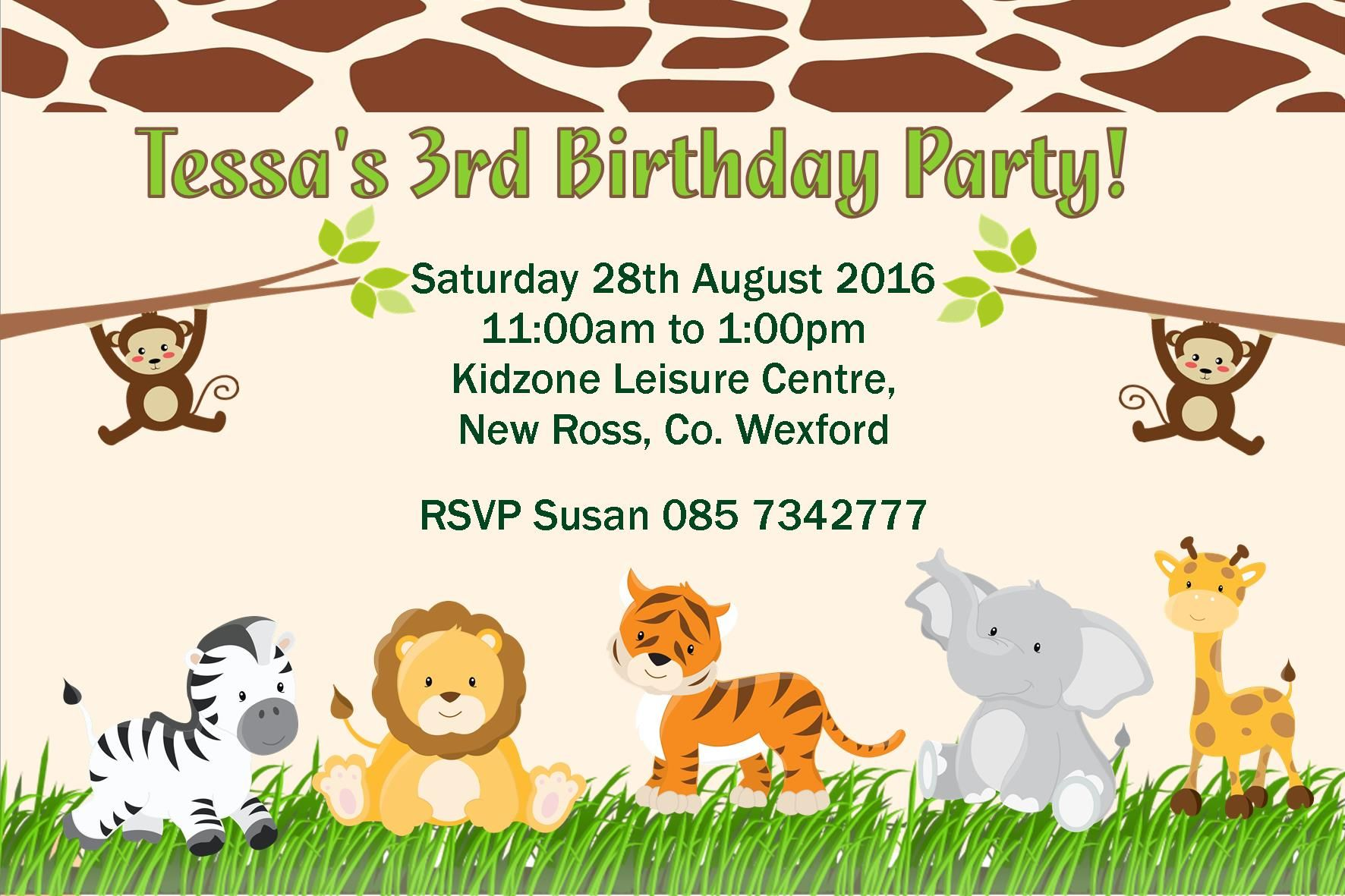 Personalised Jungle Theme Invitations