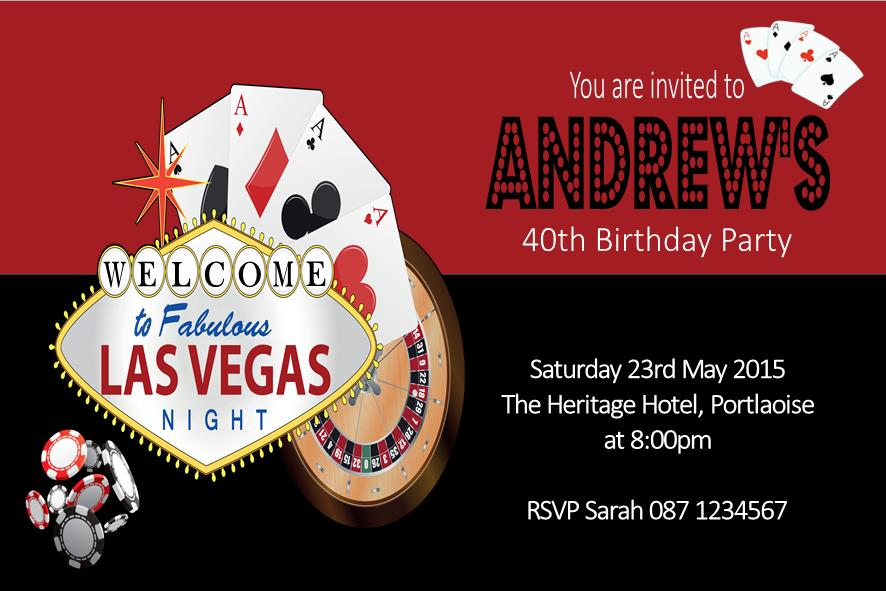 Personalised Las Vegas Casino Themed Invitation 2948 P