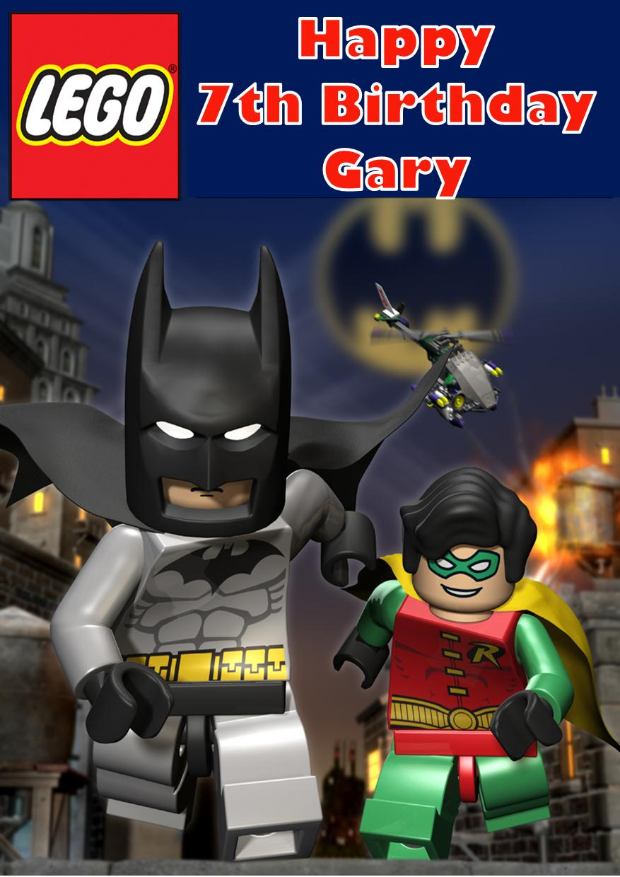image regarding Lego Birthday Card Printable known as Individualized Lego Batman Birthday Card