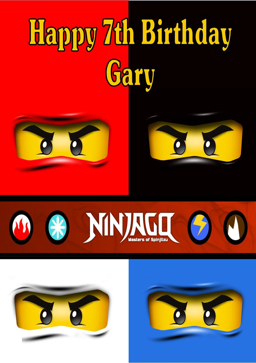 picture relating to Lego Birthday Card Printable identified as Personalized Lego Ninjago Birthday Card