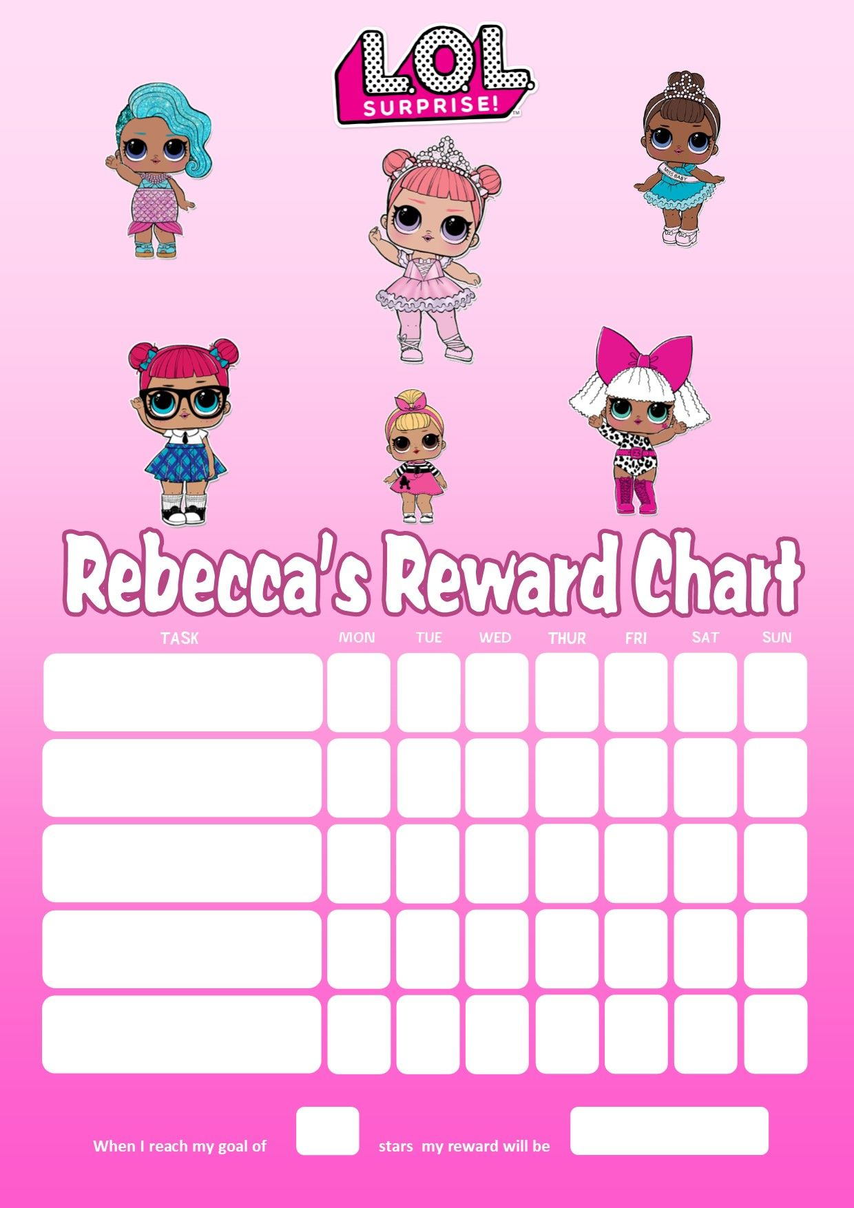image relating to Reward Chart Printable named Customized LOL Dolls Gain Chart (incorporating picture alternative obtainable)