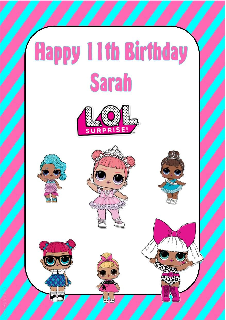 Personalised LOL Surprise Dolls Birthday Card