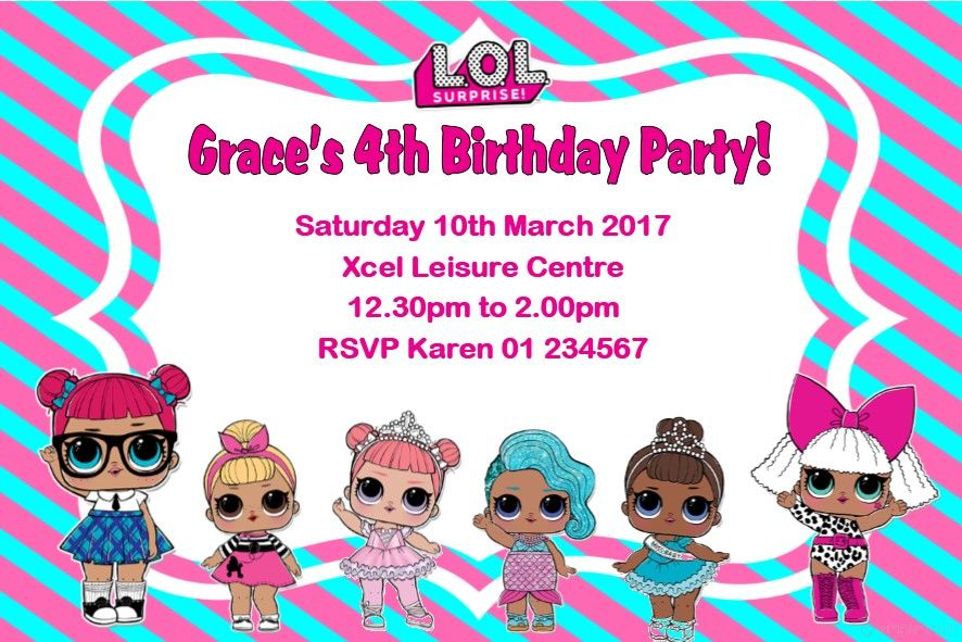 Personalised Lol Surprise Dolls Invitations