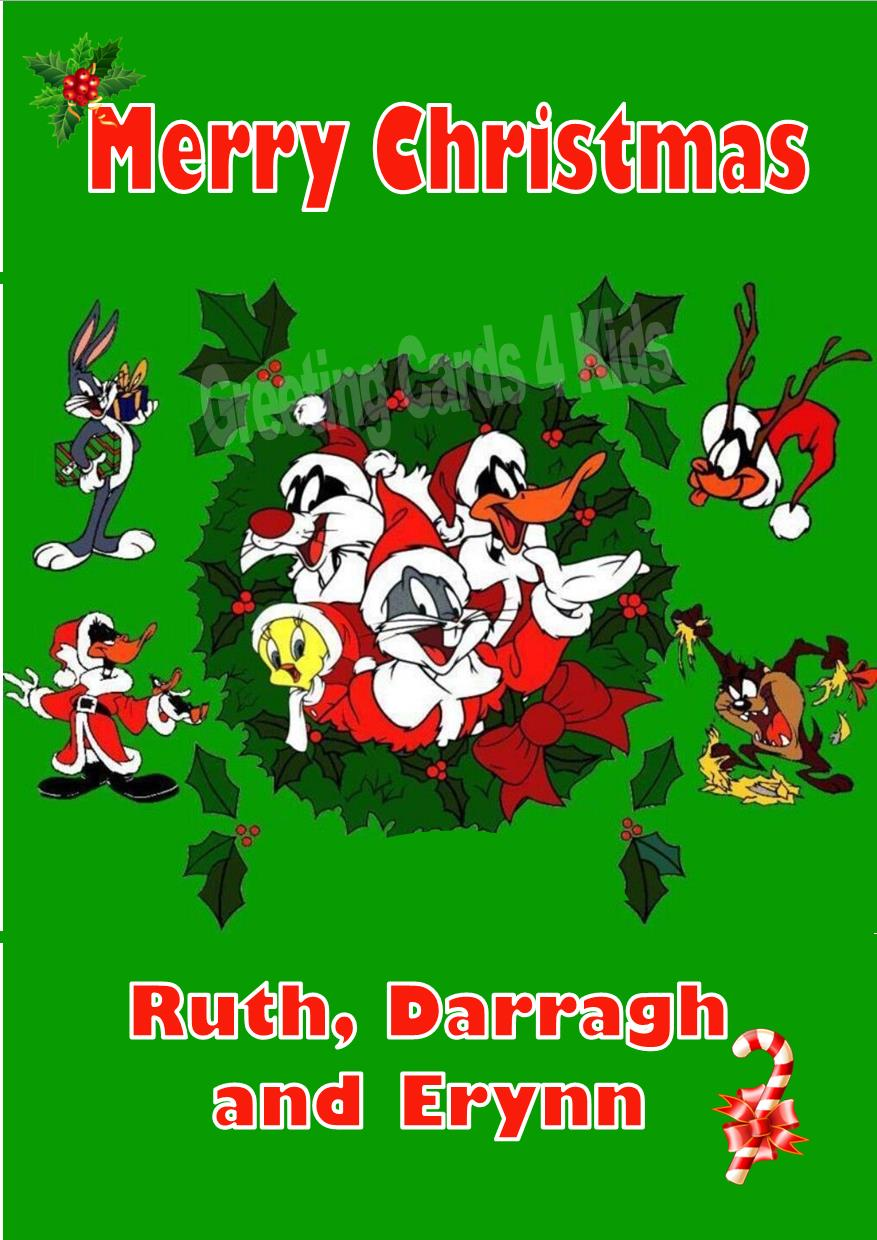 personalised looney tunes christmas card