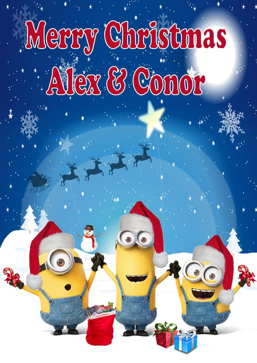 Minions Christmas.Personalised Minions Christmas Card