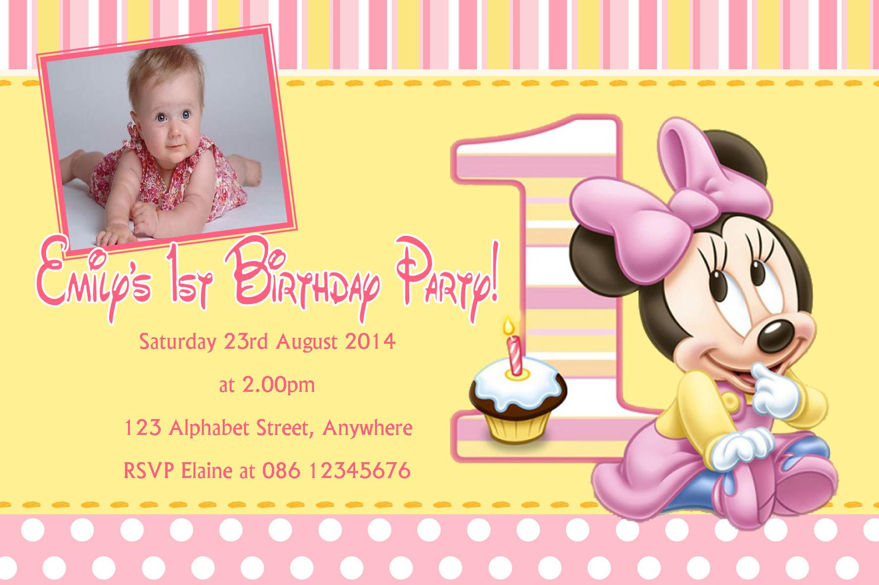 Personalised Minnie Mouse 1st Birthday Invitations