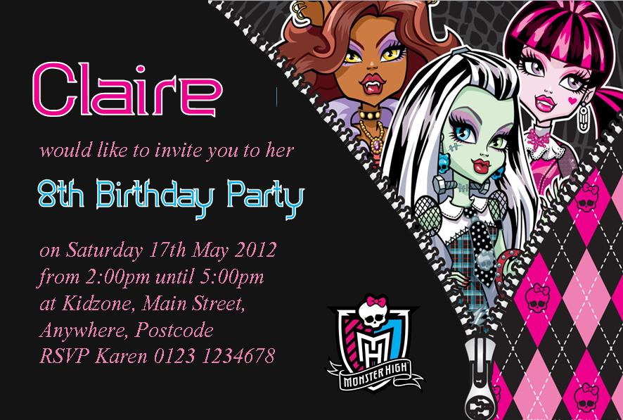 Personalised Monster High Invitations Design 1