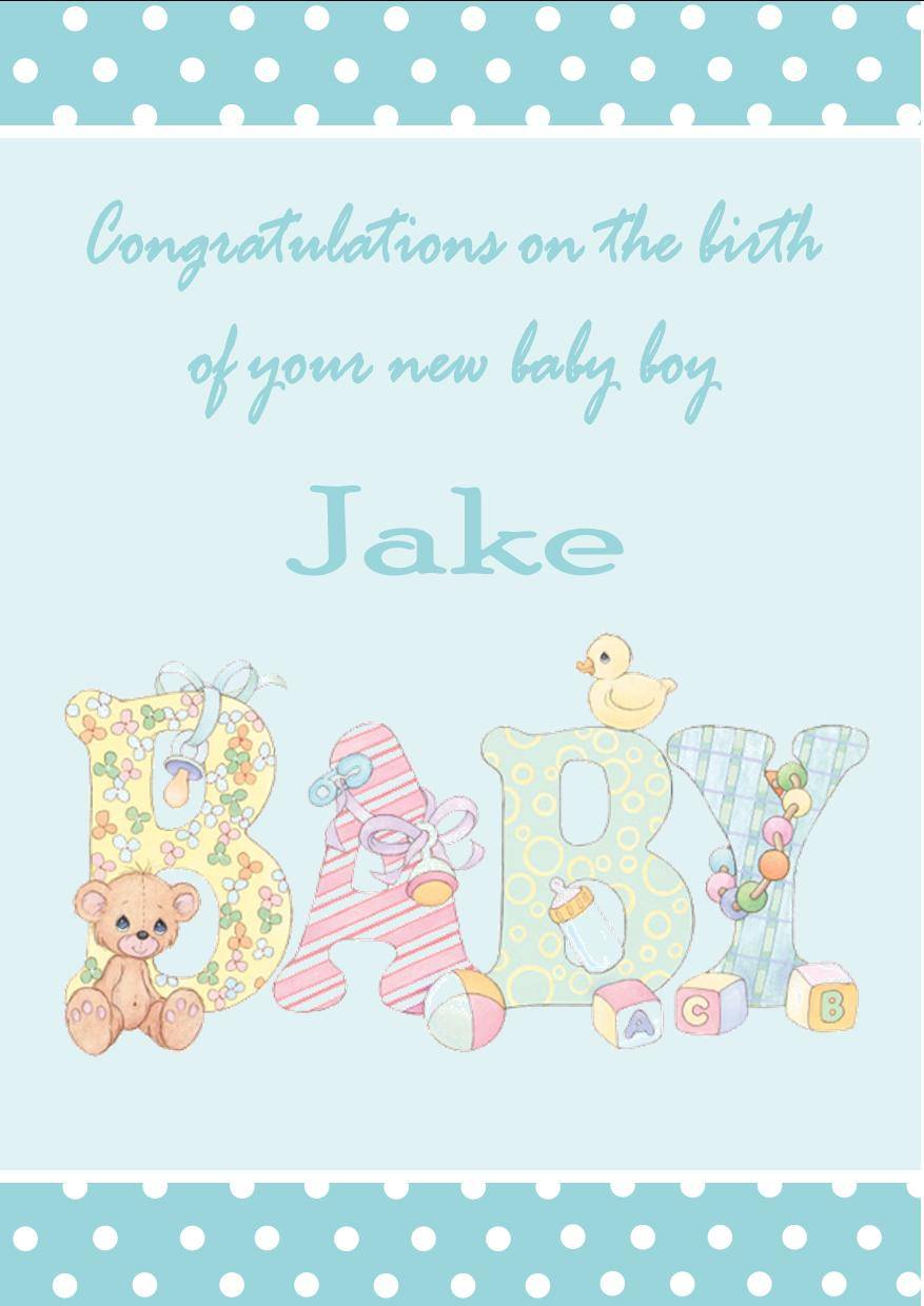 Unique Personalised New Baby Boy Card Design 1 IT99