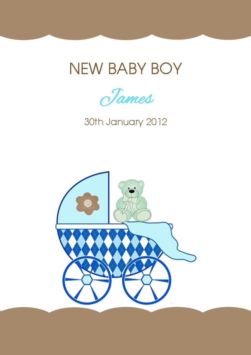 Personalised New Baby Boy Card Design 4